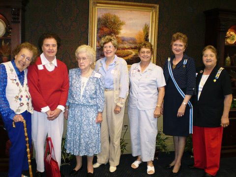The Crab-Orchard Chapter sisters attending The Flag Day Celebration in Sparta, TN. Pictured here (l - r) Frances Webb and sister Ruth Hendricks, Elizabeth Robnett and sister Sue Robnett, Laura Knoll sister of Martha Ballard, TSDAR Regent Judith H. Chaffin and The Crab-Orchard Regent Martha F. Ballard.