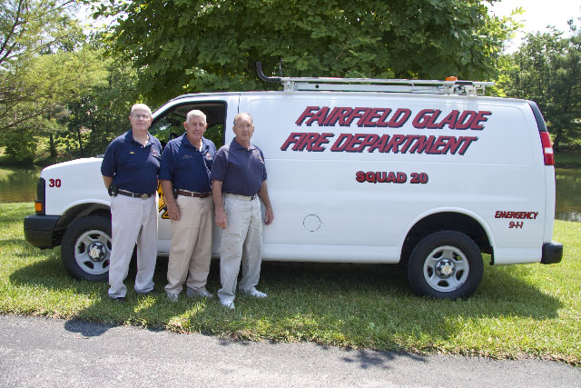 Fire Marshal Pat Donohue, Chief Howard Robb and Deputy Chief Tom Rosenburgh are pictured, from left to right, with the department's most recent purchase, a 2005, paneled van that will be outfitted to carry a wide range of emergency equipment such as extra air tanks, hoses, ladders, chain saws and the like, plus the van will be equipped to meet all the ISO requirements.