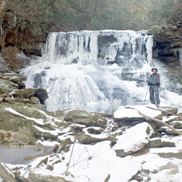 Here is a photograph of Levon Hubbard at Upper Lilly Falls.