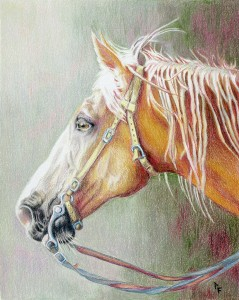 "Dena Whitener won ""Best of Show"" for her Colored Pencil drawing ""The Fall Lineup."" The visitors to the ""Art Aglow"" Award Show at the Plateau Creative Arts Center voted for their favorite creation.  The ""People's Choice Award"" goes to Pat Freed with her Colored Pencil rendition of ""Another Trail Ride"" featuring a palomino horse in the home stretch."