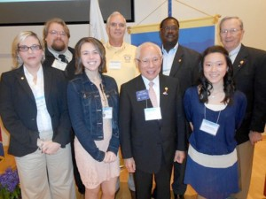 Front Row: Rotarian Amy Cox, SMHS Interact Students Hannah Timson and Rachel Raulerson flank Rotary International President Sakuji Tanaka. Back Row: Crossville Rotary Vice-President McKinley Tabor, Fairfield Glade Rotarians Paul Wennermark, Wilson Jackson, Bill Collins.