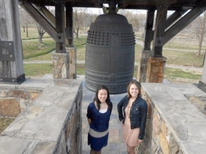 Between sessions Rachel Raulerson and Hannah Timson visited the International Friendship Bell.