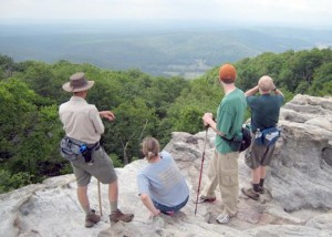 Hikers take in the views at Black Mountain.