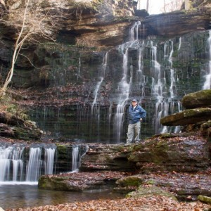 Howard Owens takes a break to enjoy Short Springs Machine Falls during a past hike.