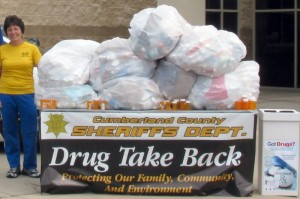 "Bags and bags of drugs collected last year at the CMC Wellness Complex at Fairfield Glade, were literally ""over the top"" of Wendy Reed, the facility's exercise manager.  She's ready to help again this year at the Take-Back with Cumberland County Sheriff Chief Investigator Casey Cox."