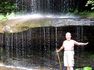 Fairfield Glade hiker Helen Callis pauses to enjoy a cascade in Hidden Passage.