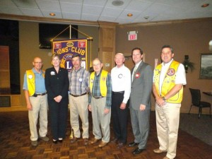 New Glade Lions Club members and sponsors are (left to right): sponsor Bob Cover; new member Lisa Copeland; new member Kenneth Cox; sponsor Bill Silence; new member Bill McCay; new member Cameron Sexton; and sponsor Dan Richardson.