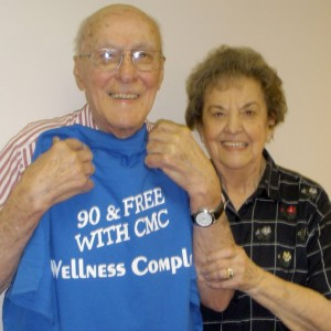 Fairfield Glade resident Stephen Strazinsky, pictured with his wife Roseann, proudly displays a T-shirt given to him at a recent Wellness Complex party.