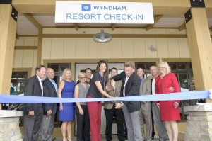 Ribbon Cutting Photo – Includes from Left to Right: Wilson Moore, Executive Vice President, Sales & Marketing, Wyndham Vacation Ownership;    Rick Goode, Senior Vice President, Marketing, Wyndham Vacation Ownership;     Sarah King, Executive Vice President, Human Resources, Wyndham Vacation Ownership; Julie MacPherson, Vice President, Facilities, Wyndham Vacation Ownership; Jeff Myers, Chief Sales and Marketing Officer, Wyndham Vacation Ownership; Lindsay Baines-Bossert, Sr. Project Manager, Facilities, Wyndham Vacation Ownership;    Peter Gianini, Vice President of Resort Operations; Franz Hanning, President and CEO, Wyndham Vacation Ownership;     Jeff Goree, Project Director, Wyndham Resort at Fairfield Glade; Dave LaBelle, Regional Sr. Vice President, Wyndham Vacation Ownership; Dana Hartle, Resort Manager, Wyndham Resort at Fairfield Glade.