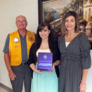 """Fairfield Glade Lion member and CCHS school counselor gather to honor September """"Student of the Month."""" Pictured (left to right) are Lion Paul Horman, """"Student of the Month"""" Madison Hicks and Student Counselor Dawn Shaw."""