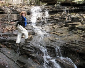 Hiker Karla Miller balances at North Chickamauga — the TTA's destination on Oct. 19.