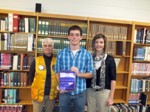 "Derrick Sherrill, center, the Glade Lions Club's December ""Student of the Month"" is shown being congratulated by Lion Margo Wilson, left, and CCHS Counselor Dawn Shaw"