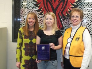 "Pictured (L-R) are Counselor Breanna Van Winkle, January ""Student of the Month"" Katelyne Carmin, and FFG Lions Club member Cathy Muldoon celebrating Katelyne's selection."