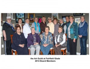 The Art Guild at Fairfield Glade is pleased to announce the 2014 officers and  board members of this organization.  Back Row:  Judy Kahoun, Publicity Co-Coordinator; Sheryl Reeser, Programs and Events Co-Coordinator; Sue Vandewalker, Ways and Means Coordinator;  Shirley King, VP and Membership Coordinator;  Sara Flohr, Co-President; Marilyne Bartos and Evelyn Birmingham, Outreach Co-Coordinators; Gloria McCracken, Programs and Events Co-Coordinator; Tess Sullentrup, Exhibits and Shows Co-Coordinator;  Dawn Robb, Treasurer;  Nina Hardison, Exhibits and Shows Co-Coordinator.  First Row:  Barb Rogers, Co-President;  Nancy Martin, Secretary;  Jayne Tapia, Publicity Co-Coordinator, and Judi Moenck, Plateau Creative Arts Coordinator.