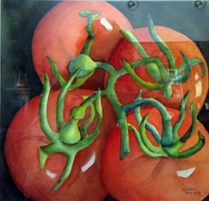 Tomatoes — one of the works of watercolorist Sheryl Reeser