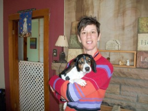 """Meet Karen McMeekin, Founder and President of A Time for Paws. She is holding one of her very good friends named Brooklin who has an interesting story all her own."""""""