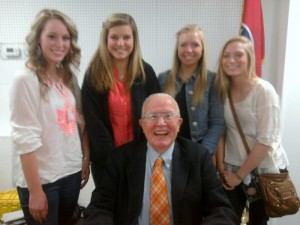 Dr. Bill Bass shares a laugh with future forensic scientists from Stone Memorial High School.