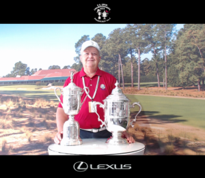 Above, Fairfield Glade resident poses with the U.S. Open championship trophies with Pinehurst #2 in the background.