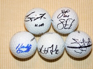 Tewalt served as a scorer for many notable golfers at the tournament and received autographed golf balls from many of them (bottom right) such as Steve Stricker, Kevin Na and Jim Furyk.